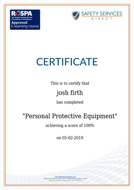 PPE certiticate